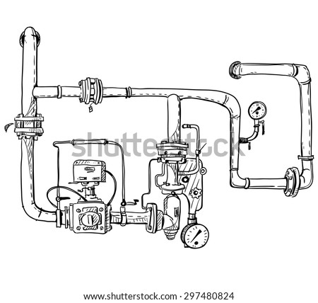 Boiler room. Pipes. Vector sketch.  - stock vector