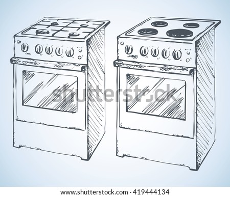 Boiling hotplate tables with four hot plate and buttons isolated on white background. Freehand outline ink hand drawn picture sketchy in art scrawl retro style pen on paper - stock vector