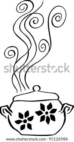 Boiling pan - stock vector