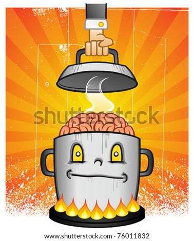 Boiling Pot Of Brain Cooking On A Stove - stock vector