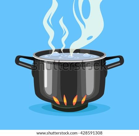 Boiling water in pan. Big black pot. Vector flat cartoon illustration - stock vector