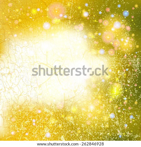 Bokeh Abstract Glitter Background with Scratch Grunge Distress Dust Crack Overlay Texture - Blurred Modern Textured Background with Light Effects for Flyer Brochure Magazine Cover Leaflet Web Design . - stock vector