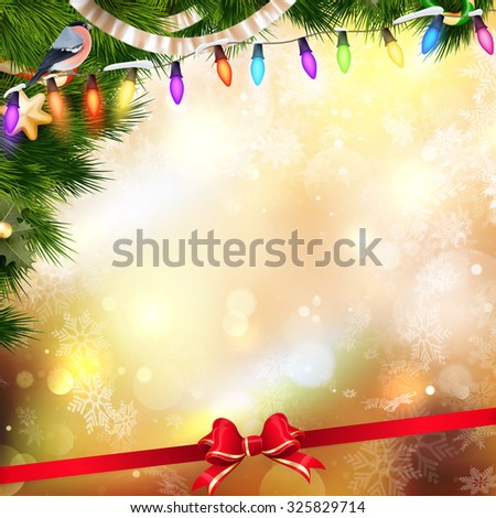 Bokeh Christmas balls and Christmas tree with light background. EPS 10 vector file included - stock vector