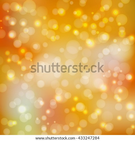 Bokeh lights. Autumn background with blur. Back to school. Brilliant orange wallpaper. Festive decoration with circles. Golden abstract backdrop. Vector illustration.