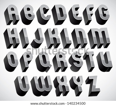 Bold and heavy 3d letters set, dimensional vector font, monochrome. - stock vector