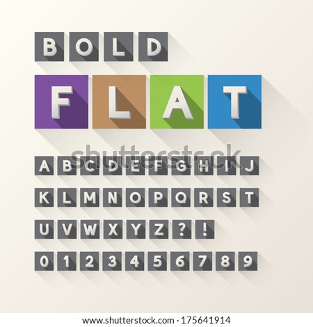Bold Flat Font and Numbers in Square, Eps 10 Vector, Editable for any Background, No Clipping Mask - stock vector