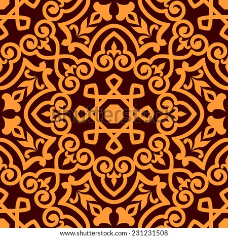 Bold intricate Arabic seamless pattern with a central orange motif on brown in a busy vector pattern in square format - stock vector