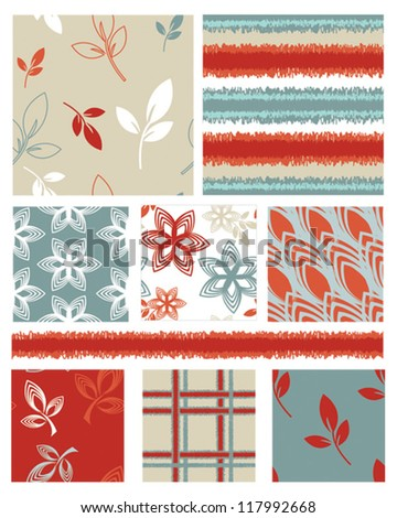 Bold Leaf Vector Seamless Patterns and trim, use for fills for digital paper, backgrounds or fabric projects. - stock vector
