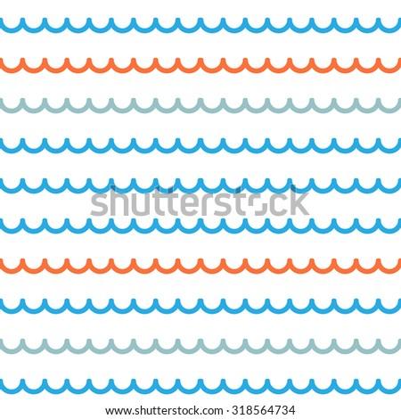 Bold line Seamless wavy line pattern vector illustration - stock vector