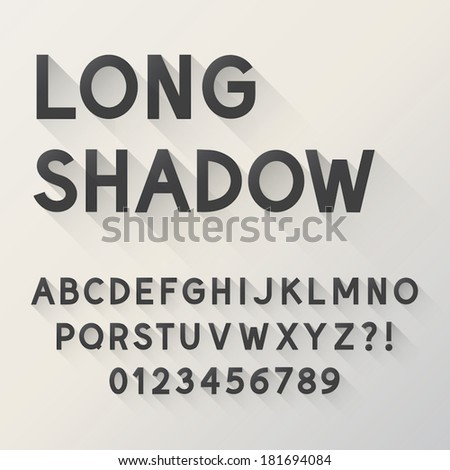 Bold Long Shadow Alphabet and Numbers, Eps 10 Vector Editable - stock vector
