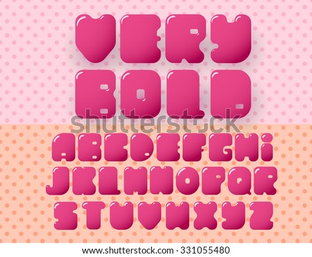 bold retro alphabet on pink dotted background