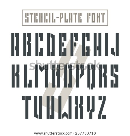 Bold stencil-plate sanserif font in military style. Black font on light background - stock vector