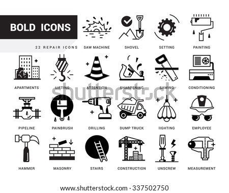 Bold vector icons in a modern style. Linear elements with potting black. Repair of buildings and facilities, finishing works, plumbing, real estate construction, turnkey home. - stock vector