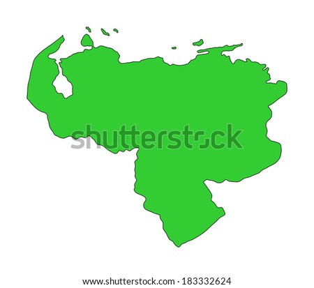 Bolivarian Republic of Venezuela vector map, isolated on white background. High detailed illustration. Green map. - stock vector