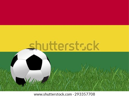 Bolivia flag with soccer ball on the yeard