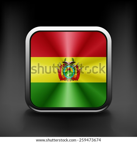 Bolivia icon flag national travel icon country symbol button. - stock vector
