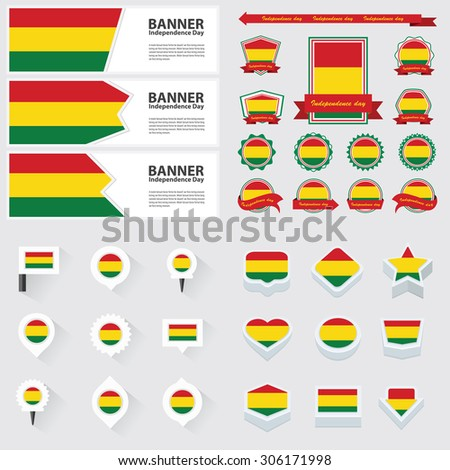 bolivia independence day, infographic, and label Set.