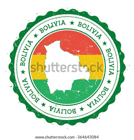 Bolivia map and flag in vintage rubber stamp of country colours. Grungy travel stamp with map and flag of Bolivia, vector illustration - stock vector