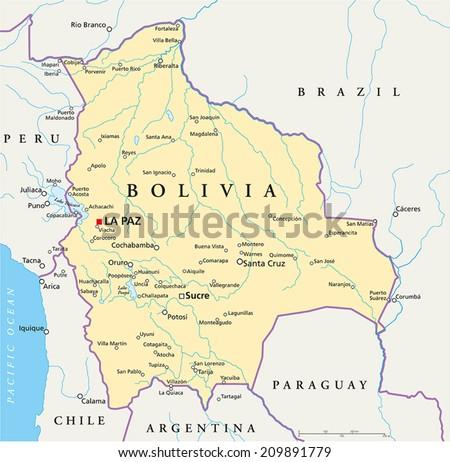 Bolivia Political Map Capital La Paz Stock Vector 2018 209891779