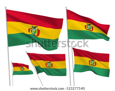 Bolivia vector flags. A set of 5 wavy 3D flags created using gradient meshes