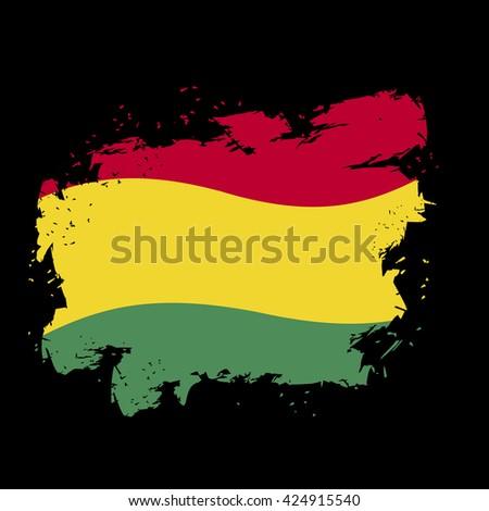 Bolivian flag grunge style on black background. Brush strokes and ink splatter. National symbol of Bolivian State - stock vector