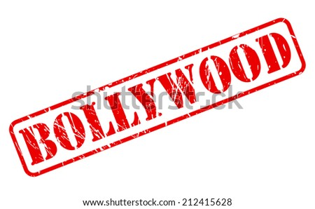 Bollywood red stamp text on white - stock vector