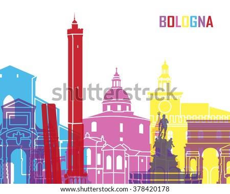 Bologna skyline pop in editable vector file - stock vector