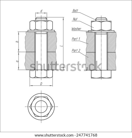 Bolt connection. Sketch of bolt and nut connecting the two parts together. Vector technical  illustration of metalwares on a white background. Front,  side, and top view. - stock vector