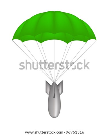 Bomb at green parachute - stock vector