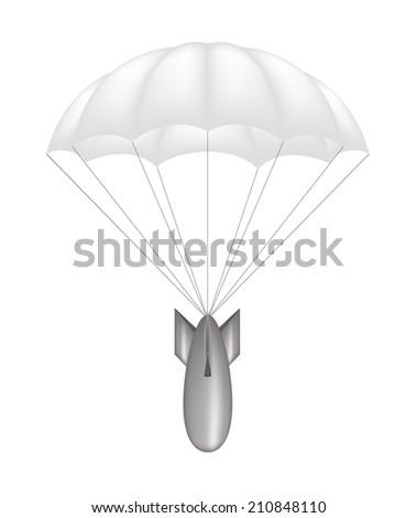 Bomb at white parachute - stock vector