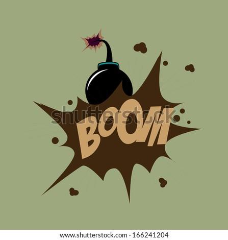Bomb design over green background vector illustration   - stock vector