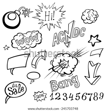 Bomb explosion comic style templates. Vector illustration wow - stock vector