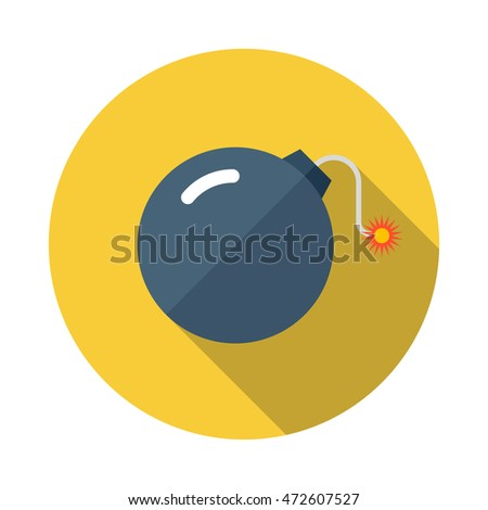 Bomb flat icon with long shadows
