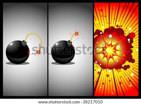 bomb in three actions - stock vector
