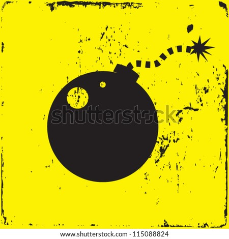 bomb vector illustration on grunge background - stock vector