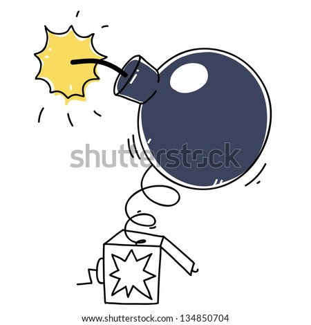 bomb with a burning wick in a surprise box. cartoon illustration - stock vector