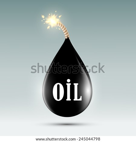bomb with a wick in the form of oil droplets - stock vector