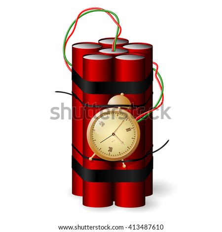 Bomb with clock timer icon isolated on white background