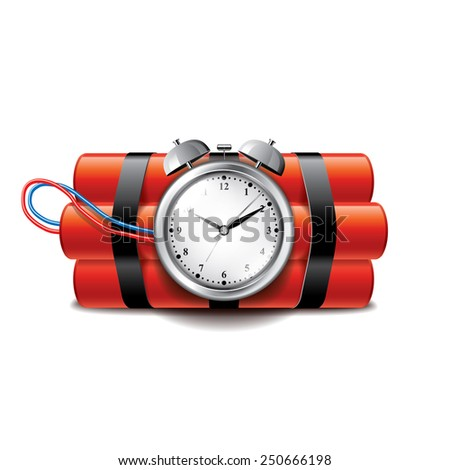 Bomb with clock timer isolated on white photo-realistic vector illustration - stock vector