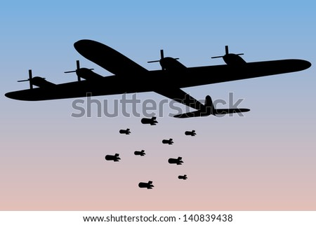 bomber dropping bombs silhouette - stock vector
