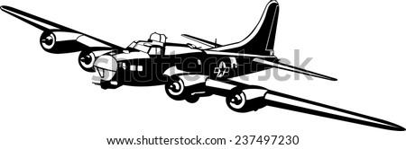 Bomber Plane Silhouette - stock vector