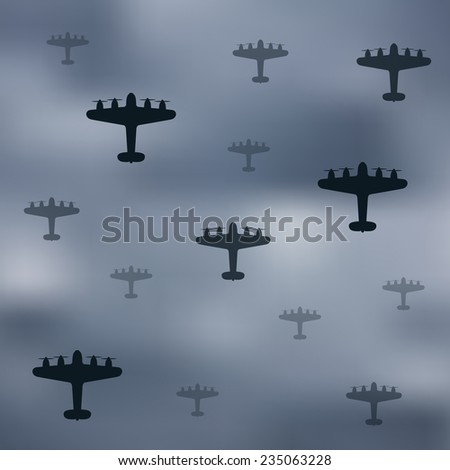 Bomber planes on gray sky - stock vector