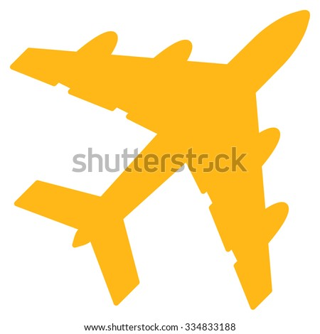 Bomber vector icon. Style is flat yellow symbol, rounded angles, white background.