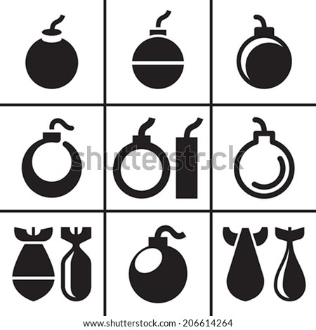 Bombs and rockets icons set vector illustration - stock vector