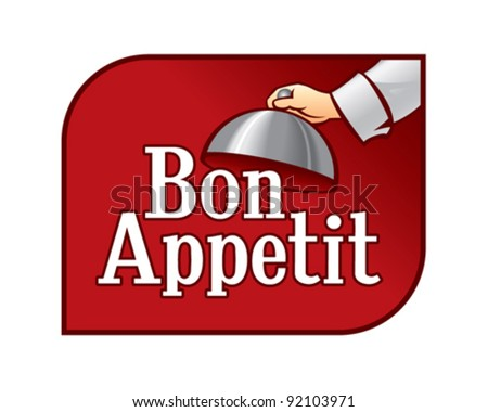 Bon appetit - Cartoon Chef Opening Tray of Food