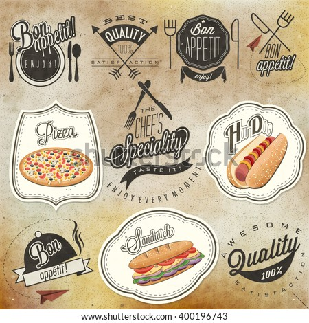 Bon Appetit! Enjoy your meal! Retro vintage style hand drawn typographic symbols for restaurant menu design. Set of Calligraphic titles and symbols. Ham , hot dog and sandwich realistic illustration.