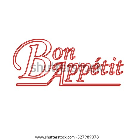 Bon appetit red outlined words text illustration