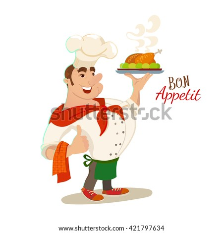 Bon appetite chef cartoon character. Vector illustration. Smile restaurant cook with dish plate. Typography and chef for catering mascot.