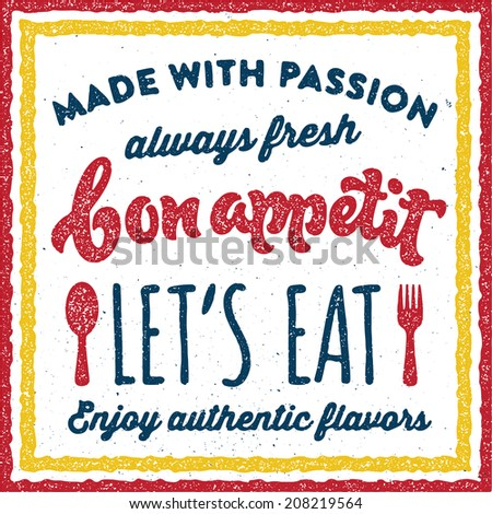 Bon appetite vintage culinary print poster badge typographic concept - stock vector