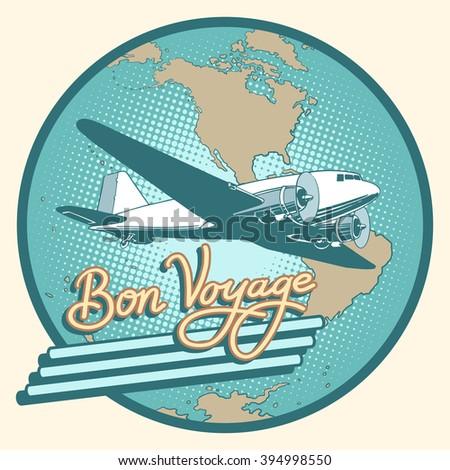 Bon voyage abstract retro plane poster - stock vector